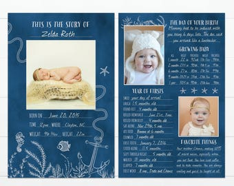 """Nautical Under the Sea Beach Themed Baby's First Year Memory """"Book"""""""