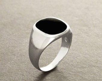 Hipster Ring - Black Onyx Ring - Silver 925 - Modern Men Ring - Onyx Gemstone - CUSHION SIGNET RING - Men jewelry - Men Ring - Black Ring.