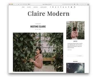 Claire Modern - Modern Wordpress Blog Theme - Responsive Design - Minimalist Fashion Photography Blog - Shop - Gallery - Customisable -