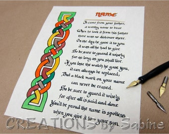 Family Name Poem WITH YOUR NAME Irish Handwritten Calligraphy Original Art Celtic Knots Ready To Frame Letter Father Son Honor Pride