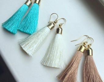 Long Fringe Earrings, Fringe Jewelry, Gold Tassel Earrings, Tassel Jewelry, Statement Earrings, Trendy Earrings, Fringe Boho Earrings