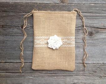 Brides Bag, Dollar Dance Bag, Ivory Wedding Bag, Gift For Bride, Flower Girl Bag, Burlap Wedding Dance, Woodland Wedding, Country Wedding