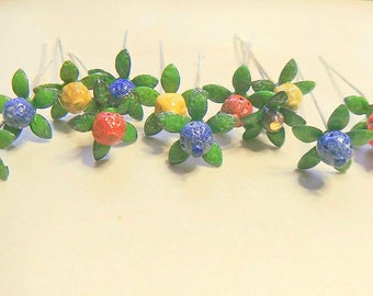 Torch Fired Enameled Flower Headpins