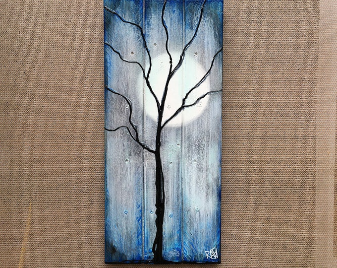 Featured listing image: Tree and Winter Moon Painting on Reclaimed Wood The Nights Of The Season By Rafi Perez