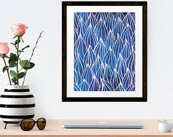 Nature Art, Overlapping Blue Leaf Pattern, Hand drawn Abstract Printable Wall Art, Living Room Decor, Office Decor, INSTANT DOWNLOAD