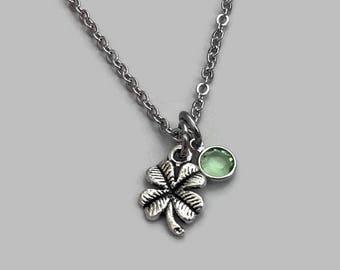 Four Leaf Clover Necklace, Four Leaf Clover Charm, Good Luck Necklace, Good Luck Charm, Shamrock Charm, St Patricks Day, St Pattys Day