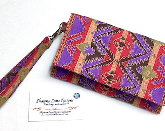 Women's Wallet with strap, cell phone accessory, wristlet, colorful southwest print wallet, small purse, women's gift, purple red wallet