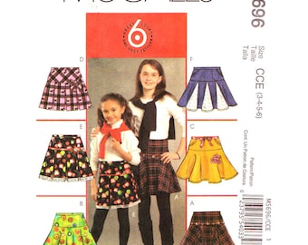Girls Skirt Pattern McCalls 5696 Pleated Flared or Circle Skirt Contrast Godets Cheerleader Skirt Girls Sewing Pattern Size 3 4 5 6 UNCUT