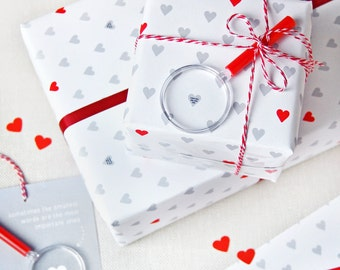 Mini Love Heart Messages Wrapping Paper Set - Anniversary Gift Wrap - Secret Messages Paper - Mother's Day Gift Wrap -Father's day Gift Wrap