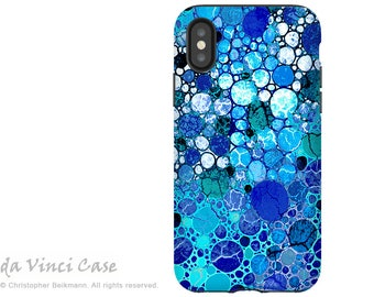 Blue  Abstract iPhone X Tough Case - Dual Layer Protection - Blue Bubbles - Artistic Case For Apple iPhone 10 by Da Vinci Case