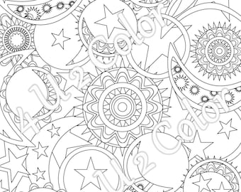 Sun - Moon - Stars - #1, coloring page, sun, moon & stars coloring page, adult coloring page, printable coloring page, downloadable page