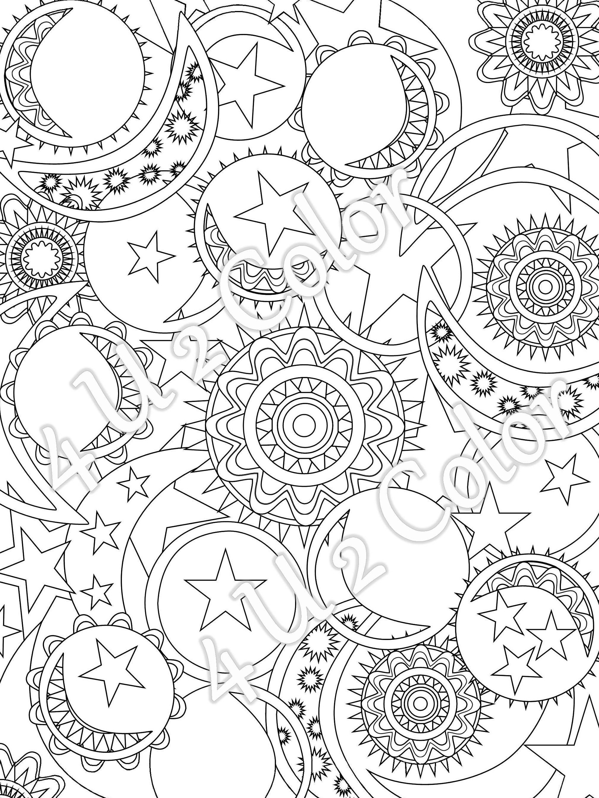 coloring page of stars.  zoom Sun Moon Stars 1 coloring page sun moon stars