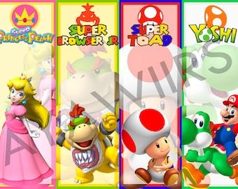 Digital Download, Printable Bookmark, Super Mario, Princess Peach, Browser Jr., Toad, Yoshi
