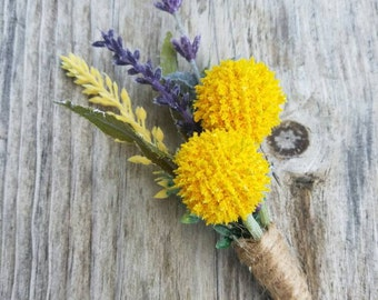 Spring Boutonniere, country boutonniere, rustic boutonniere, Billy button boutonniere, lavender wedding, rustic wedding, yellow boutonniere