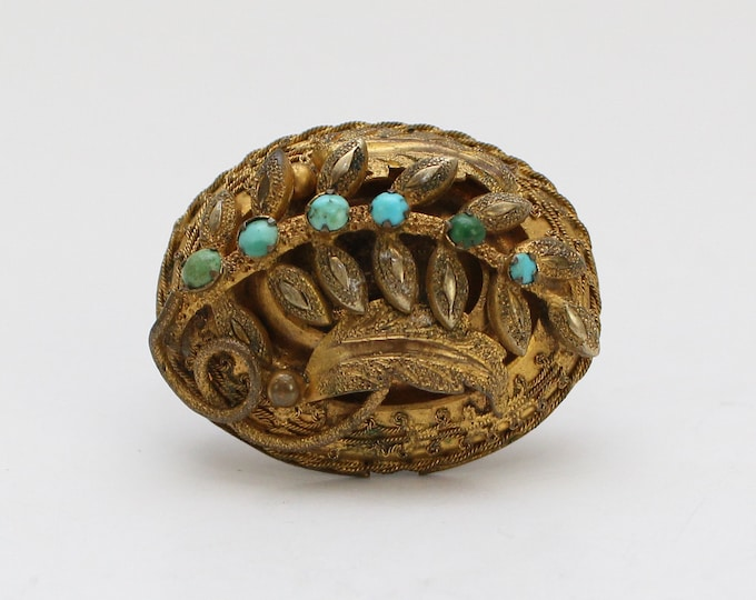 Antique Edwardian Turquoise Brooch