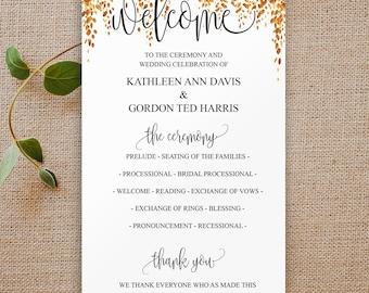 Ceremony Printable Template, Elegant Wedding Programs, Gold Wedding Program, Wedding Program Template, Printable Program, Wedding, 6089