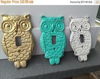 ON SALE, SPRING Sale Owl Cast Iron Light Plate/ Owl Wall Decor/ Nursery Decor/ Single Light Plate