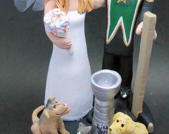 Dallas Stars Hockey Wedding Cake Topper, Hockey Bride and Groom Wedding Cake Topper, Dallas Stars Wedding Figurine, Hockey Marriage Statue
