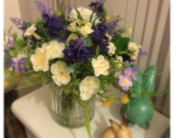Artificial Silk Flowers Spring Yellows Blues Purples Small Arrangement