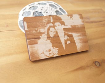Real photo engraving, wooden wallet insert card, personalized 5th anniversary gift, laser engraved wallet insert, double side engraving