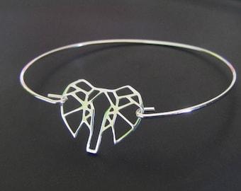 Origami Elephant Bracelet, Elephant Bangle bracelet, Sterling Silver Bracelet, Jewelry, Gift for Her