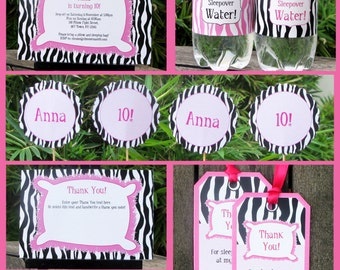 Sleepover Party Invitations & Decorations - full Printable Package - Slumber Party - INSTANT DOWNLOAD with EDITABLE text - you personalize