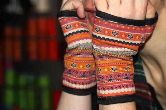 Mitten cuff short pattern ethnic totem pink/coral/black/Orange Cotton Jersey