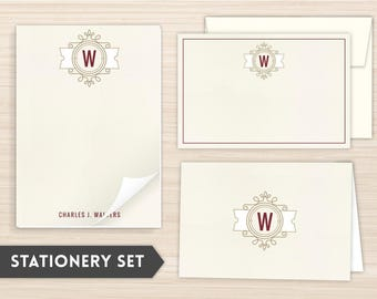 Personalized Stationery for Grads | Custom Stationery | Elegant Stationery | Personal Stationery | Monogram Stationery | Modern Crest