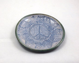 PEACE BUTTERFLY Offering Bowl Handmade Ceramic Raku Pottery