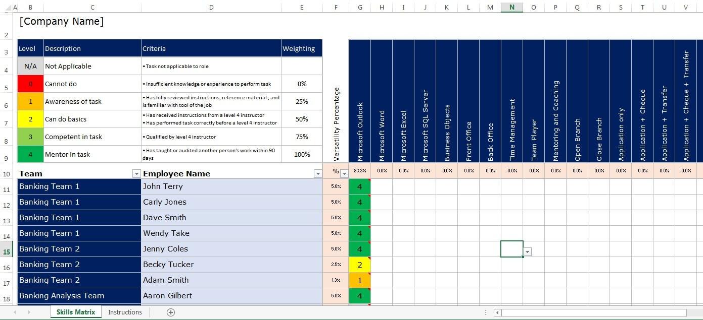 Microsoft Excel Spreadsheet Employee Staff Office / Skills
