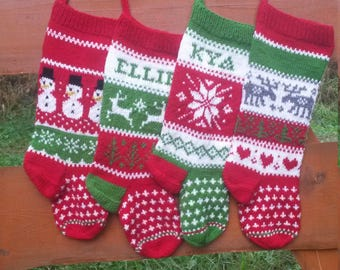 Set of 4 Personalized Christmas Stockings Hand Knitted  Christmas Gift Christmas Decoration