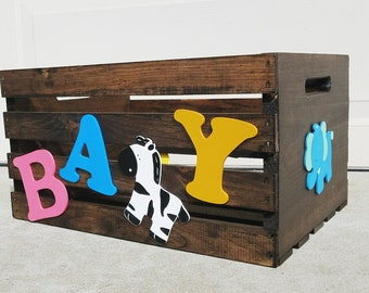 ON SALE! Jungle Animals Themed Baby Crate