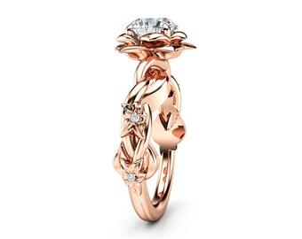 Unique Engagement Ring Moissanite Engagement Ring Rose Gold Ring Unique Moissanite Ring