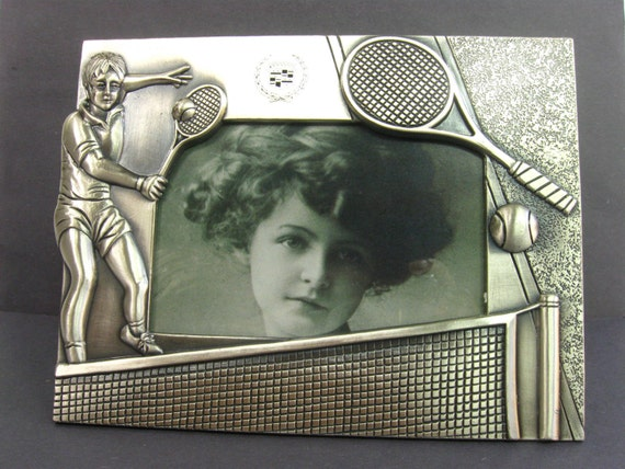 Vintage Tennis Picture Frame Silver Toned Sports Frame