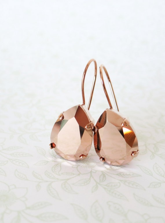 Rose Gold Swarovski Crystal Teardrop Earrings, wedding bridal earrings, bridal bridesmaid gifts, pink gold weddings, Ourania