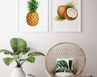 Pineapple And Coconut Print Set · Tropical Fruit Print · Kitchen Wall Decor  · Beach Print