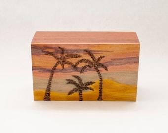 Art Memory Box Photo box Storage Decorative Box Accent Art Beach Art Home Decor Beach Home Decor Palm Tree Drawing Beach Painting