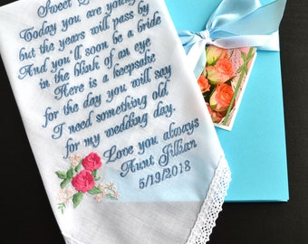 Flower girl handkerchief something blue gift Gift for her Wedding gift something old for bride gift bridal gift bridesmaids gifts for flower