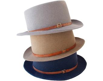 Fall Hat For Men Fall Accessories Men's Boater Hat Pork Pie Hat Fall Fashion Canotier's Hat Gaucho Hat 1980s Hat Bolero Hat Felt SALE