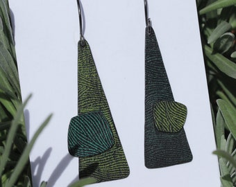 Abstract Modern Patina Triangle Dangles