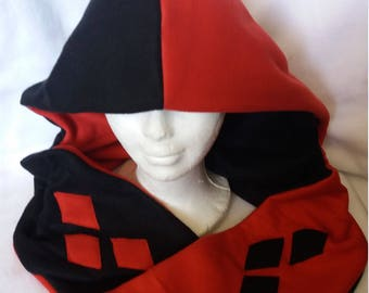 Harley Quinn inspired scoodie (hoodie with a scarf) villians and superhero costume/cosplay