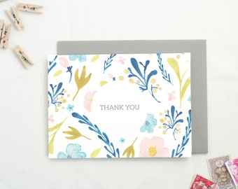 Thank You Cards. Bridal Shower Thank You Cards. Floral Card. Blank Thank You Cards. Thank You Cards Set. Set of Floral Thank You Cards. TY8