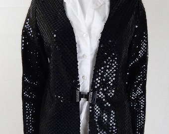 Original Vintage 1980s Black Sequin Relaxed Jacket/Blazer UK Size 10/12