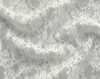 Lace fabric elastic 498080 in cream with floral pattern