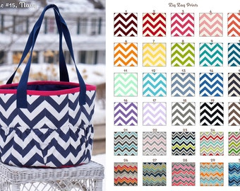 Custom Zig Zag Large Groom Bag/Tote Many Colors - Brush Bag // Carryall // Show Tote - MADE TO ORDER