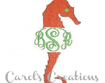 Sea Horse,instant download,monogram machine embroidered design,embroidery design,personalized monogram,embroidery file