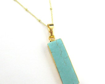 Turquoise Bar Pendant Necklace - Short Turquoise Bar and Gold Necklace - Gold plated Sterling Silver Beaded Necklace Chain - SKU: 692127