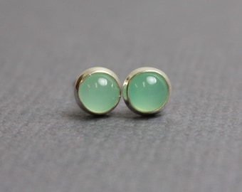 Chrysoprase Stud Earrings, Tiny Chrysoprase Earrings, 4mm Chrysoprase Earrings, Chrysoprase Sterling Silver Earrings, Green Studs