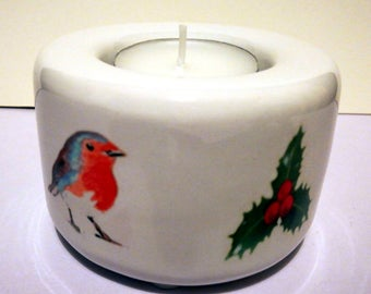 Robin with Holly Tealight Candle Holder - Ceramic Hand Printed