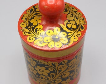 Vintage Paper Mache Box with Lid Black Red and Gold Lacquer and Folk Art Flowers Made in USSR